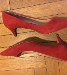MANGO VIOLETA piros velúrbőr cipő '39'