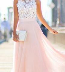 Rózsaszín csipke maxi ruha L