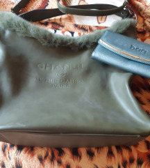 Zöld chanel szörmés táska