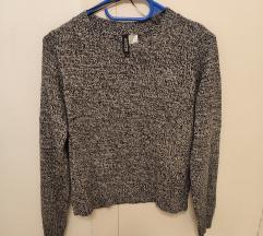 H&M fekete fehér cirmos pulóver 34/36 ÚJ