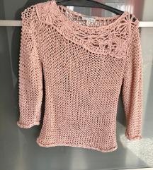 Német rózsaszín egyedi kötött pulóver 36 38 M
