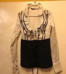 Fűzős fekete-fehér ing (L/XL)