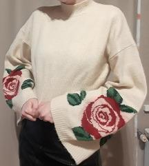 H&M rózsás crop pulóver