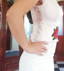 Fehér csipke ruha M