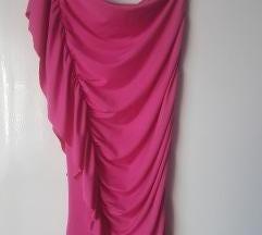 Fél vállas asszimetrikus pink ruha
