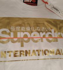 SUPERDRY új pamut póló, fehér arany felirattal