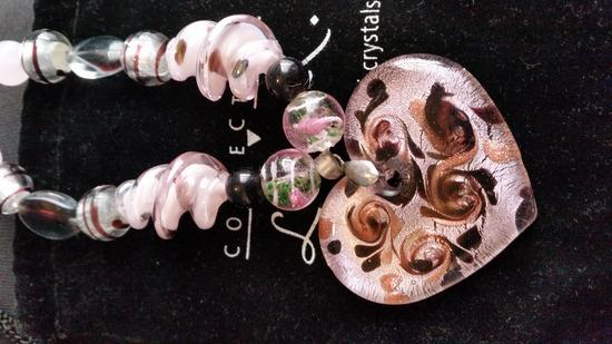 Muránói nyaklánc szív medállal