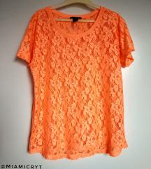H&M narancssárga csipke póló (XS)