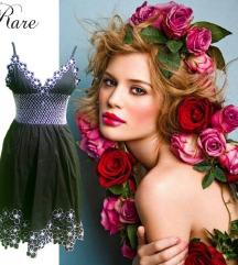 Rare Fekete-fehér,virágmintás,smokkolt,nyári ruha