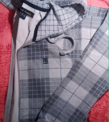 szürke kockás cipzáras pulcsi