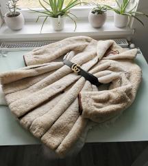 Vintage valódi bárány szőrme kabát L