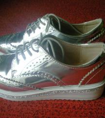 Ezüst oxford magasított talpú cipő