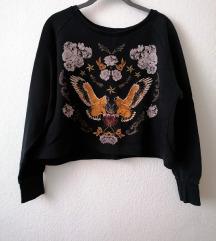 Zara hímzett mintás crop pulóver