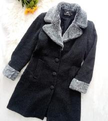 Fashion műszőrme galléros szövet kabát S