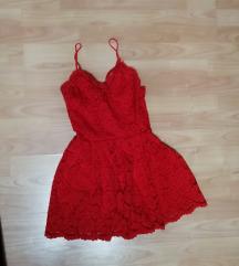 Piros H&M csipke ruha