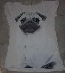 H&M mopsz,pug mintás pamut póló,xs-s,megkímélt