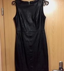 Eredeti ZARA fekete cipzáros műbőr ruha (M)