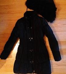 Új, fekete vastag téli kabát S