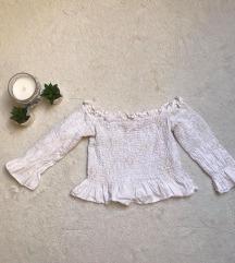 Eladó fehér ráncolt crop top