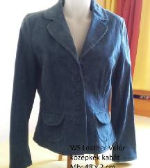 WS Lether Velúr középkék kabát, M-es