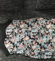 Türkisz fekete rózsás ruha