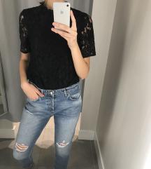 H&M fekete csipkés blúz