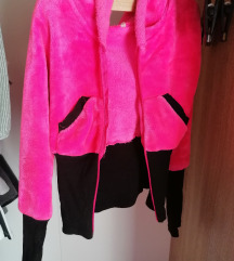 Rózsaszín kapucnis pulóver S-es