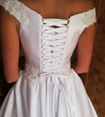 ÚJ szatén hófehér menyasszonyi ruha