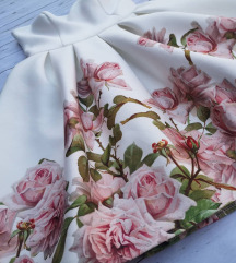 Virágmintás fehér alkalmi ruha(postával)