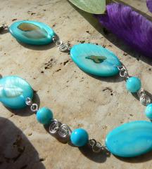 Kék ovál kagyló korong karkötő