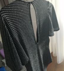 Bershka ezüst-fekete body