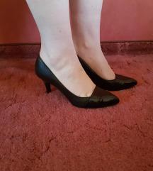 fekete,valódi bőr, tűsarkű cipő 36