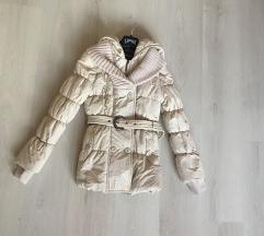 Ajándékkal!csinos, hosszított vaj színű téli kabát