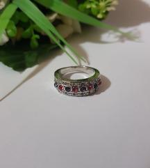 Rózsaszín és lila strasszköves bizsu gyűrű