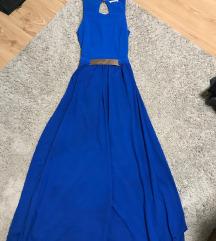 Kék maxi alkalmi ruha, nyitott hátú (34)