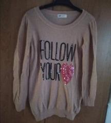 Újszerű világos rózsaszín flitteres pulóver