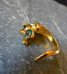 Aranyozott cica gyűrű kék kristály szemmel