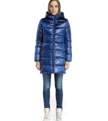 Sötétkék Devergo kapucnis téli kabát XS