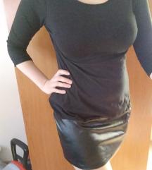 Fekete műbőrbetétes tunika/miniruha