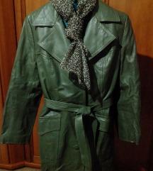 Hosszú zöld bőrkabát minőségi bőr 36/38 + AJÁNDÉK