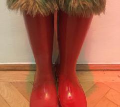 Hunter magasszárú piros gumicsizma zoknival 37