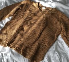H&M mustársárga kötött pulcsi
