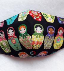 Orosz baba Matrjoska mintás textil maszk