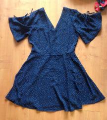Mango Casual kék pöttyös fekete ruha