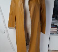 Új olasz bőrhatású kabát mustár