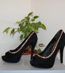 36 fekete láncos nyitot orrú platform tűsarkú cipő