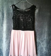 Elegáns fekete és rózsaszín színű ruhácska