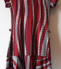 L, 40 - Új rövid mintás ruha, piros-fekete-fehér