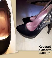 Platformos fekete cipő