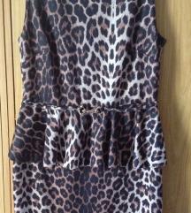 Újszerű, szexi, leopárd mintás, peplumos ruha